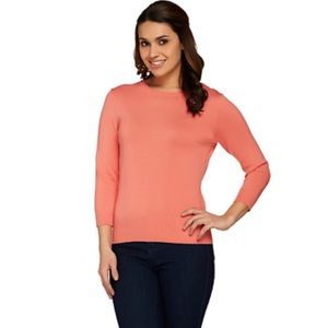 Isaac Mizrahi Live Coral Crew Neck Cotton Blend